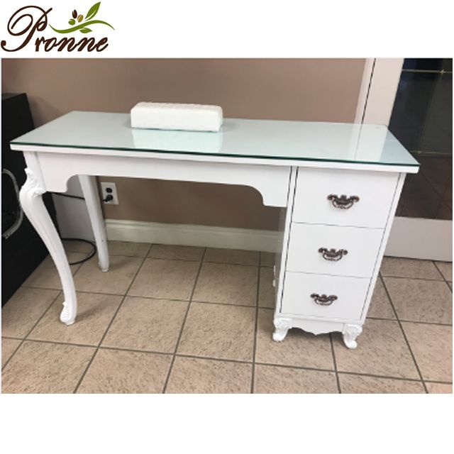 Simple 2 Drawers White Modern Glass Top Manicure Table With Shelf