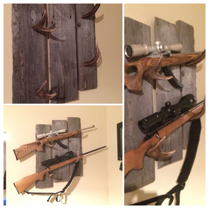Barnwood and mule deer antler gun rack I made for our kitchen. :)  Coyotes and trespassers beware!