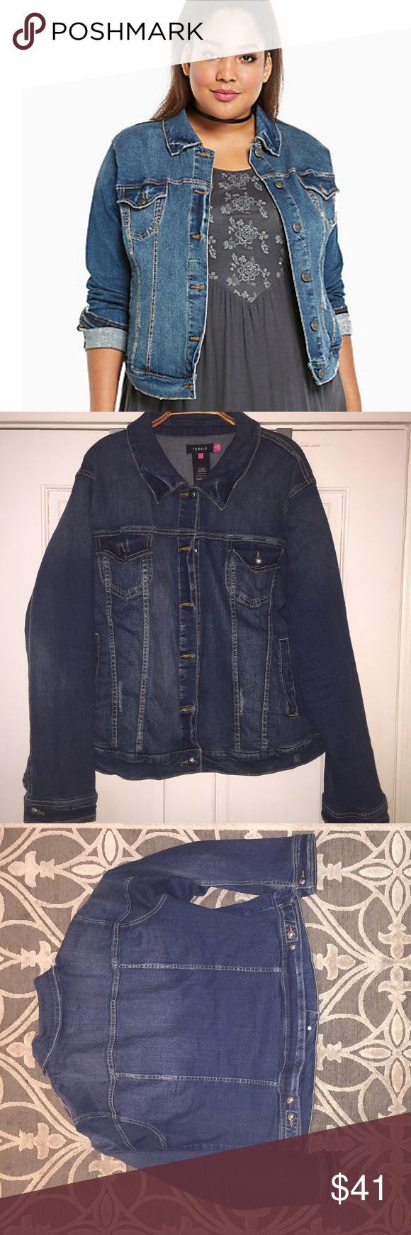 Distressed denim jacket EUC: Lightly distressed denim jacket. Cotton/Spandex material gives the jacket a comfortable fit. torrid Jackets & Coats Jean Jackets