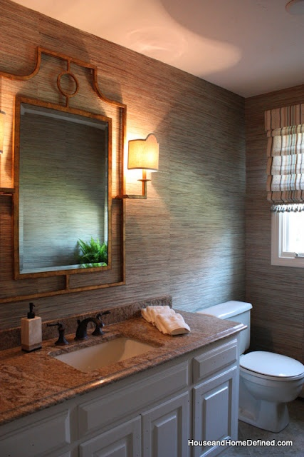 Grasscloth Bathroom. Design By Carol Beck