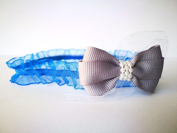 Opaska kokardka szara royal blue z tiulem święta  - MadebyKaza - Opaski dla niemowląt