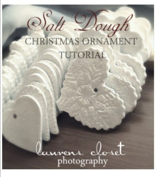 Pretty homemade salt dough ornaments     .4 cups flour  .1 cup salt  .1 1/3 cups water   .Cookie cutter of your choice .Something to make an impression with .Drinking Straw to make the holes for your string, ribbon or twine   .Then paint