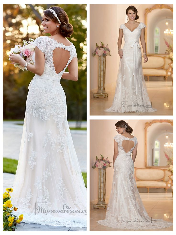 Lace Over Illusion Cap Sleeves V-neck Wedding Dresses with Keyhole Back