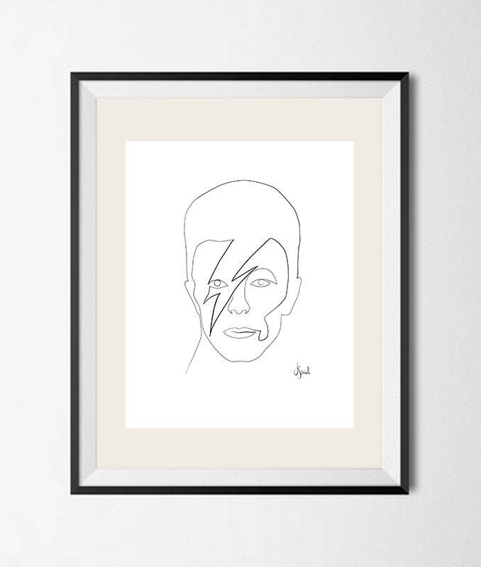 David Bowie - drawing a single line on 280 gr canson paper - One line drawing on canson paper 280 g by JoanSeculi on Etsy https://www.etsy.com/listing/543981026/david-bowie-drawing-a-single-line-on-280