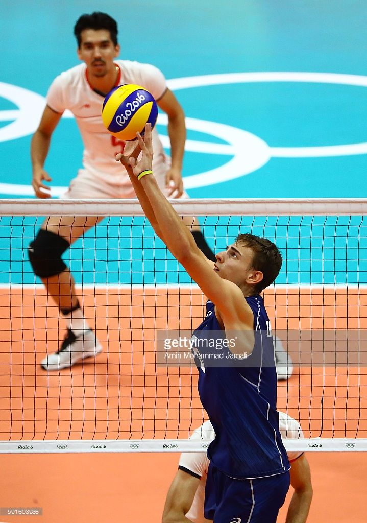 Giannelli Simone #6 of Italy in action against Iran during the Men's Quarterfinal Volleyball match on Day 12 of the Rio 2016 Olympic Games at Maracanazinho on August 17, 2016 in Rio de Janeiro, Brazil.