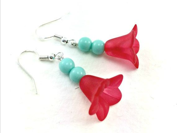 Rockabilly Kitsch Red Flower and Turquoise Beaded by KitschBride