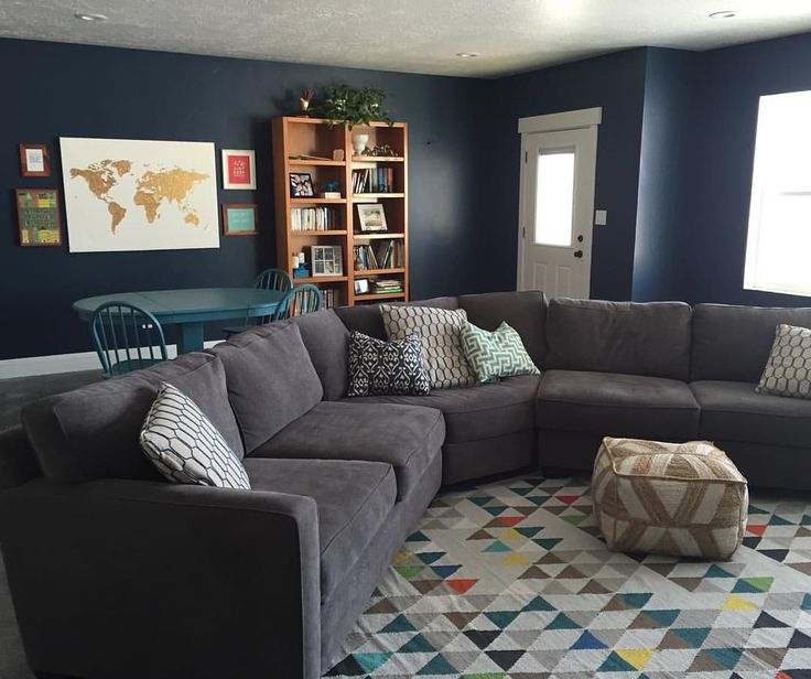 Sherwin Williams Rainstorm Navy Walls Blue Walls
