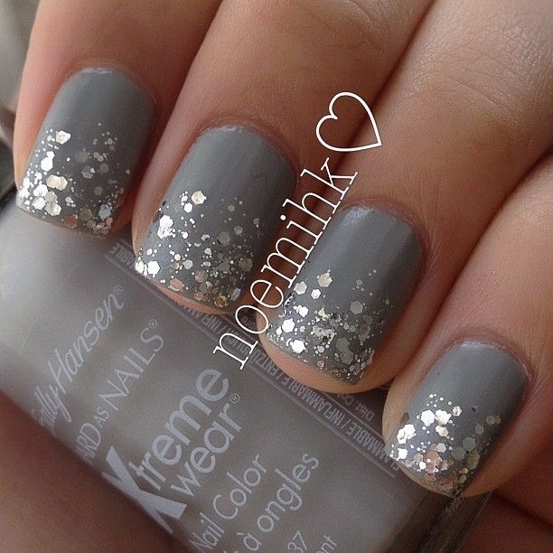 Dark Grey and Silver Glitter Ombre Gradient Matte Top Coat   Spring Summer Fancy Nails Evening