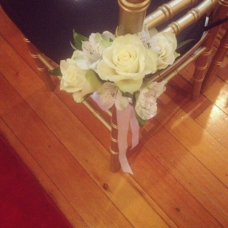 Chair Posy with Roses and Alstromeria