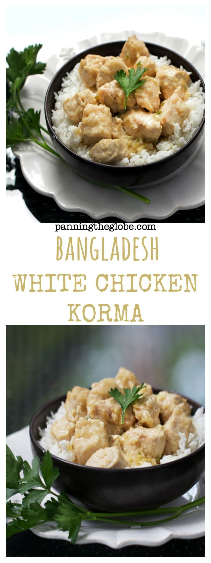 White Chicken Korma: mild, family-friendly curry, wonderfully spiced, braised with yogurt, quick and easy. Gluten free.