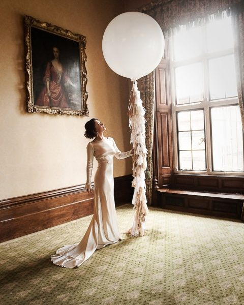 Giant 3ft balloon in white with vintage tassels and lace.
