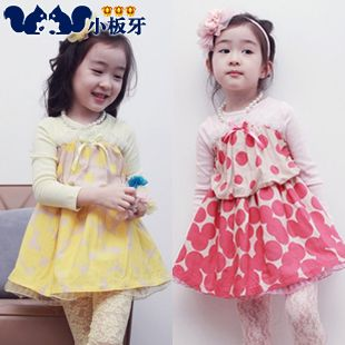 2013 autumn korean children lace little child baby girls long-sleeved dress child 6329 only $10.14USD a Piece