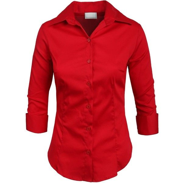 NE PEOPLE Roll Up 3/4 Sleeve Button Down Shirt with Stretch ($16) ❤ liked on Polyvore featuring tops, button-down shirts, shirts & tops, button up tops, 3/4 sleeve button down shirt and three quarter length sleeve tops