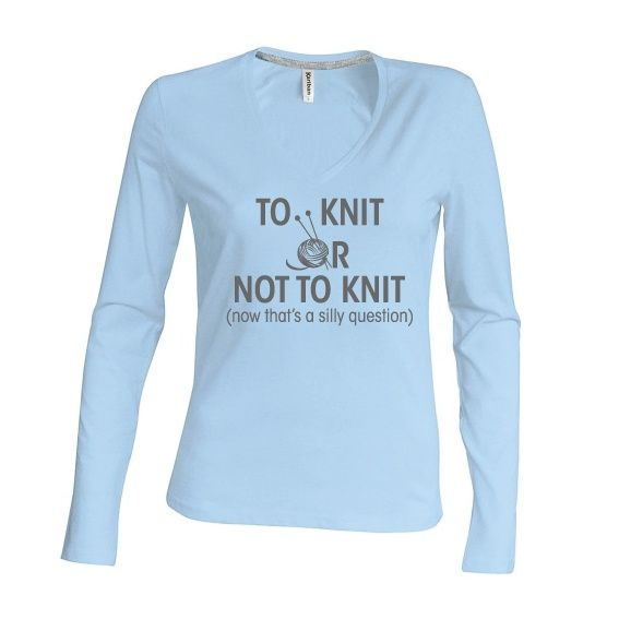 Dames   longsleeve To knit or not to knit (K382)