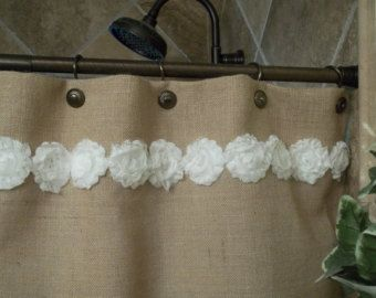 SHABBY washed Rustic Chic Burlap SHOWER by BetterhomeLiving