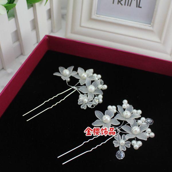 Свадебный головной убор волосы голова U-диск матовые цветы жемчужина шпильки для волос вилки вставлены свадебные платья укладки волос аксессуары - Taobao
