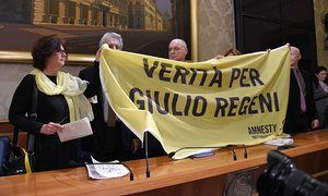 The parents of the Italian student Giulio Regeni hold a banner reading 'Truth for Giulio Regeni' during a press conference at the Italian Senate last week.