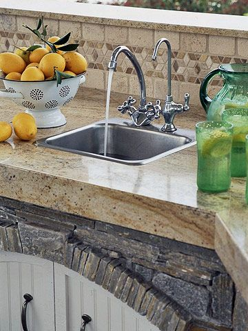 Include a Kitchen Sink...I would love to have an outdoor sink! I would not have to keep running back and forth between the indoor and outdoor kitchens to prep food and clean up.