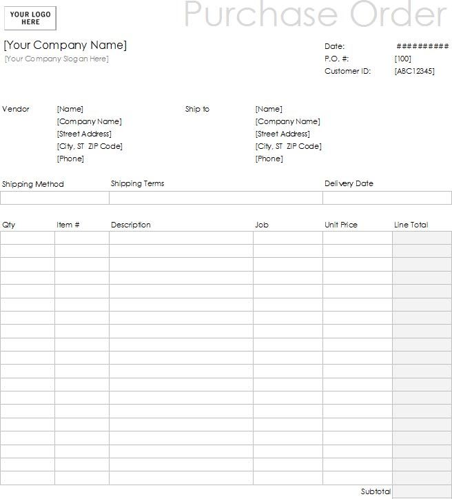 samples of purchase order forms