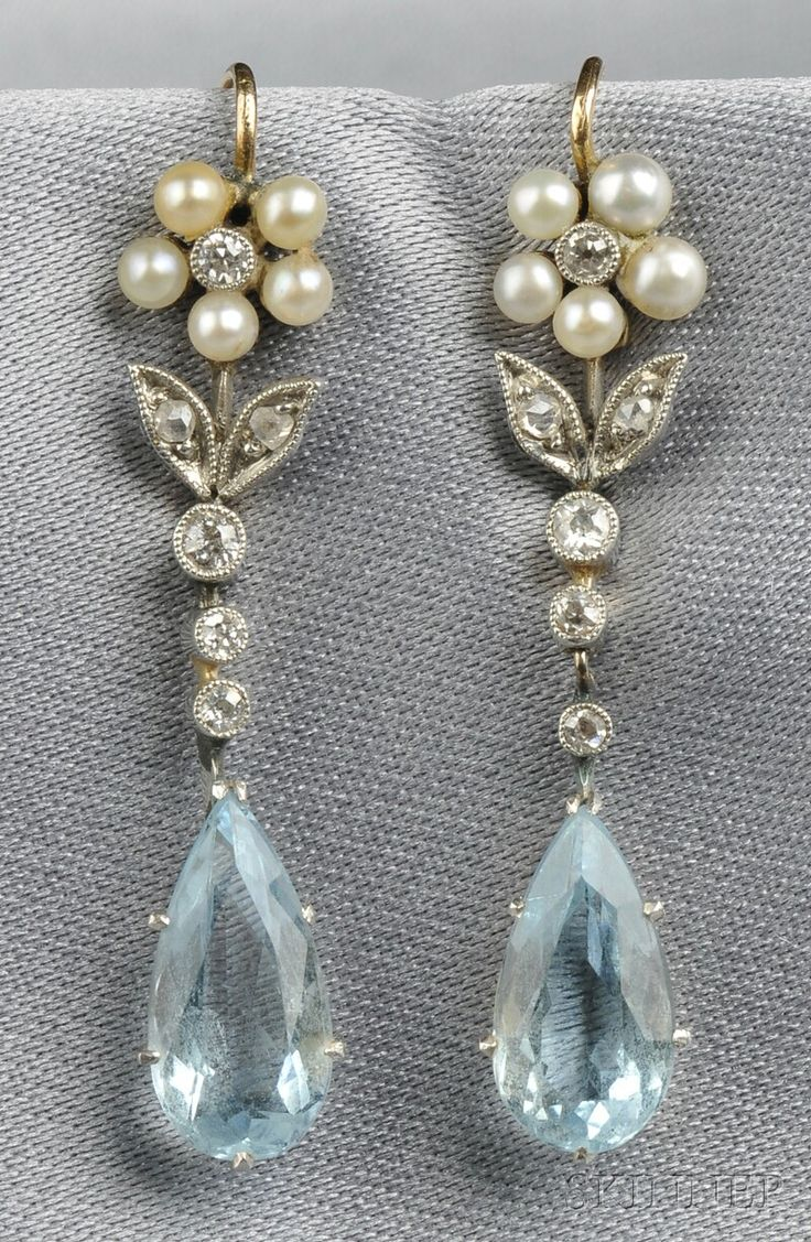 """Aquamarine, Seed Pearl, and Diamond Earrings: pretty! has white and a light blue if you go with the """"something old..."""" thing.."""