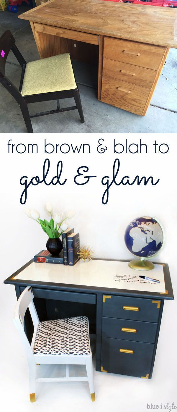 DIY Furniture Makeover | A dated desk and chair get glam makeovers, complete with campaign hardware, gold dipped legs, and a super functional dry erase painted desktop!
