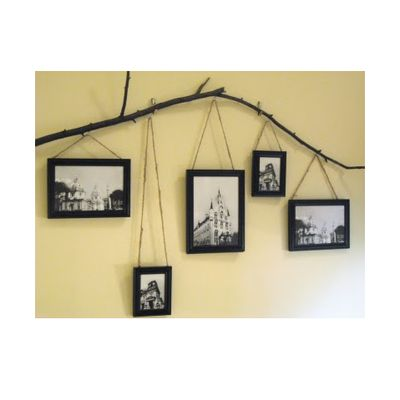 Put on the wall - black foam core with large images of melis and quade handing from a branch