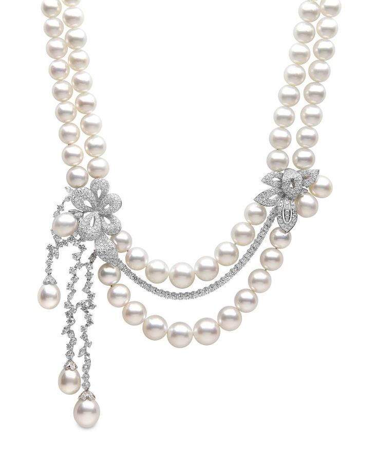 Yoko London South Sea pearl and diamond necklace.#…