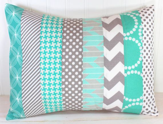 Decorative Pillow Cover, Throw Cushion Cover, Nursery Pillow, Lumbar Pillow Cover, 12 x 16 Inches, Teal Blue, Tiffany Blue, Gray Chevron