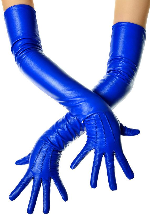 Electric Blue Leather Opera Gloves by LesDebutantes on Etsy