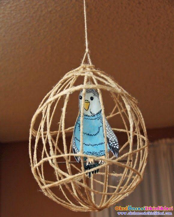 iplerle kuş kafesi yapalım