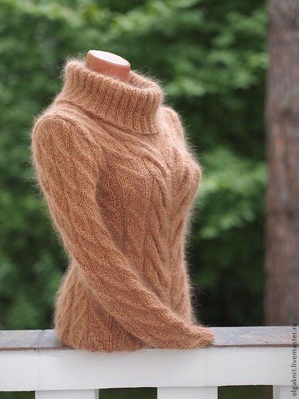 Свитер бежевый - бежевый,красивый свитер,теплый свитер,мохер,вязание спицами