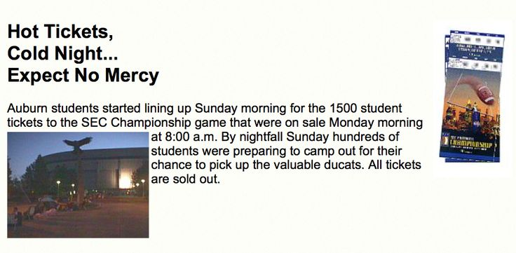 Auburn Students camp out for SEC Championship tickets in 1997