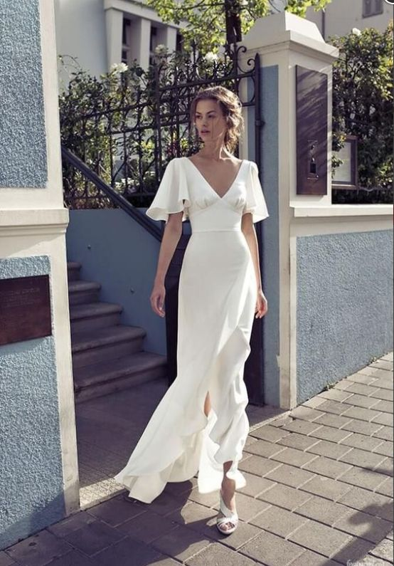 white evening dress Getting married party dress new ball gowns v-neck prom dress…