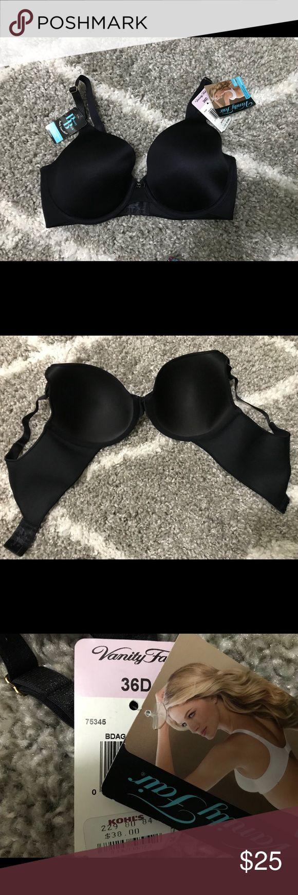 NWT Vanity Fair bar NWT black Vanity Fair bra. 36D. Wide sides to help smooth lines. Vanity Fair Intimates & Sleepwear Bras