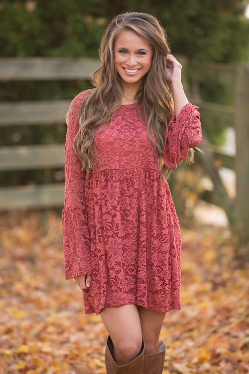 This stunning floral lace dress is sure to become your newest fall favorite!