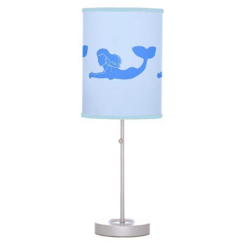 Mermaids Silhouette Blue Table Lamp