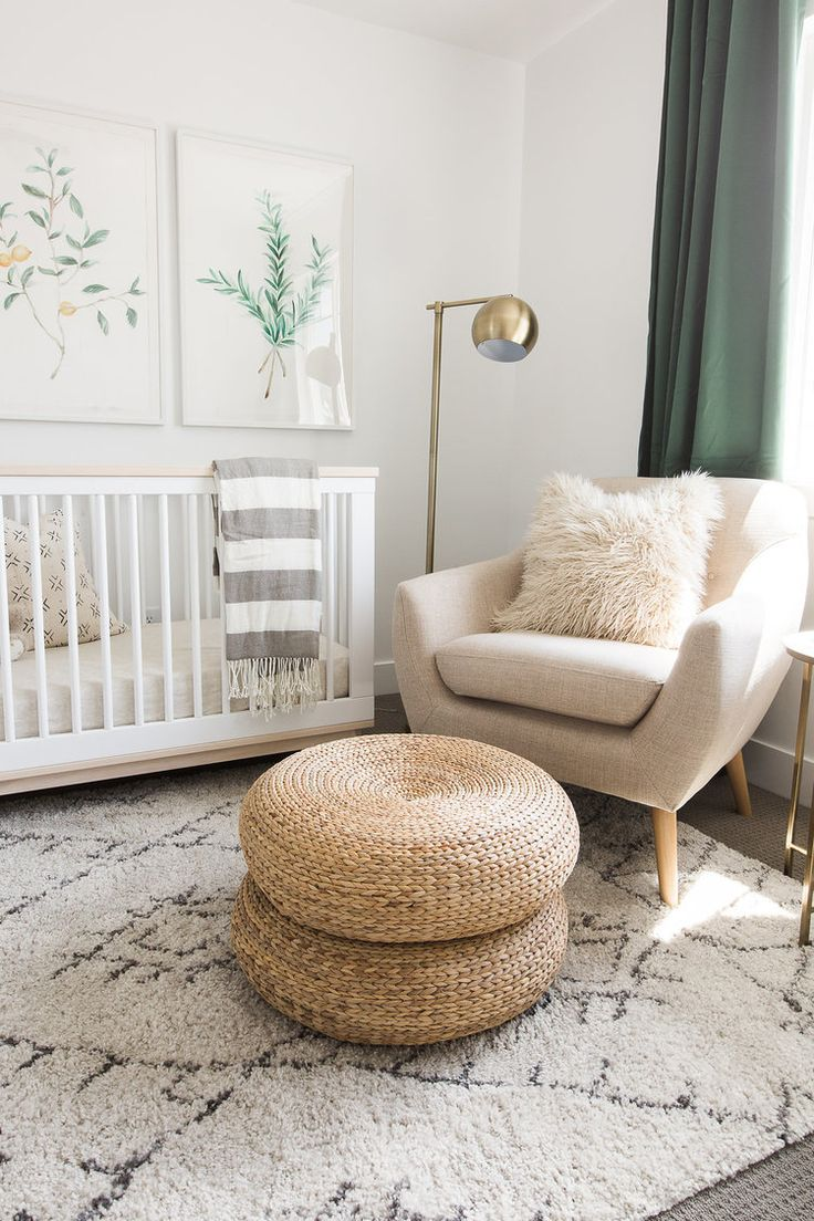 Amazing White And Green Nursery Features Botanical Prints Placed Over A Babyletto  Scoot Convertible Crib With Toddler Rail Draped In A Gray Striped Throw  Blanket ...