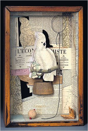"CAGED ""A Parrot for Juan Gris"" Joseph Cornell Surrealistic objects collage as inspiring diorama. Lost Marbles Copper Metal Art & Jewelry: Joseph Cornell's Boxes"