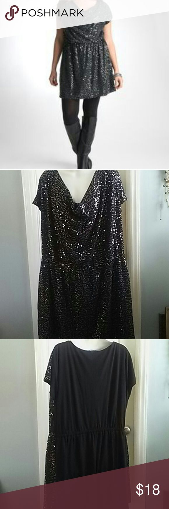 Plus size black sequin tunic/dress Beautiful cowl neck tunic/dress with sequined front. Back is plain. Elastic at waist. Soft jersey knit fabric. Lined. Perfect with leggings and boots. Great condition. Lane Bryant 22/24 Lane Bryant Dresses