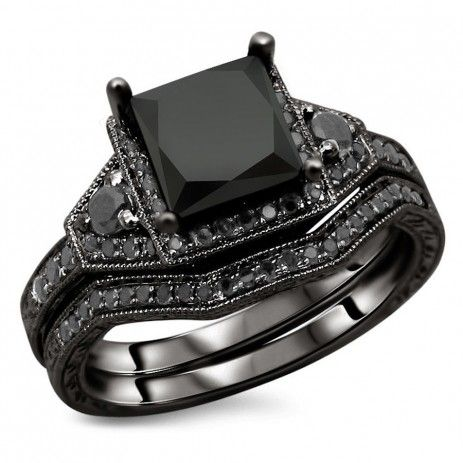 AWESOME PRINCESS CUT BLACK DIAMOND HALO WEDDING RING SET IN BLACK GOLD PLATED SILVER