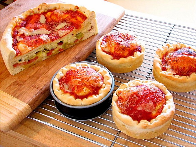 Spring Form pizzas. This looks like a cool idea, but honestly, who had like 4 or 5 spring foams lying around? I don't.