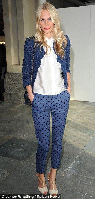 Poppy Delevigne - blue polka dot trousers