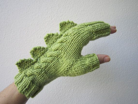 Dragon, dinosaur, monster green  fingerless mittens gloves, 100% pure Australian wool,medium female adult's size