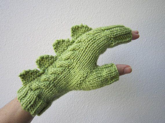 RESERVED for Will Stroh. Dragon, dinosaur, monster green  fingerless mittens gloves, 100% pure Australian wool,medium female adult's size