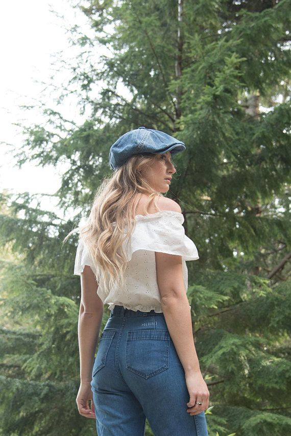 7c3927db568ac7 70s Denim Newsboy Hat, LARGE Patchwork Denim Hat, B! Wear Cap Co. Vintage  Denim Cap, 1970's Boho Hippie Hat, Men's Women's Summer Snap Hat