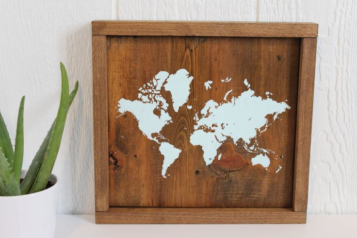 Rustic Wall Decor, Rustic World Map, Reclaimed Wood, World Map, Wood Map, Travel Decor, Handmade Item, Nursery Decor, Gallery Wall Hanging by TealBlueStudio on Etsy