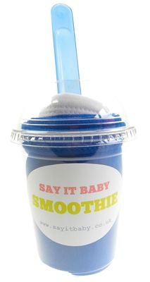 This baby bib smoothie is a fun and unique gift for a baby boy. It contains a set of 2 pull-over baby bibs made of 100% cotton - one in a lovely royal blue and one white. The smoothie comes complete with matching baby spoon, and presented in a fun smoothie cup. A great, unique gift for a baby boy.