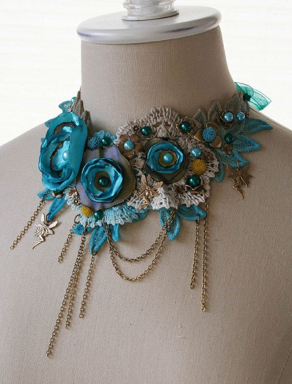 DANCE of the WATER NYMPHS romantic Victorian style lace bib statement necklace