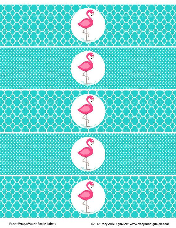 Pink Flamingo Printable Water Bottle Wraps - Paper Ribbons Printable party on Etsy, $3.95