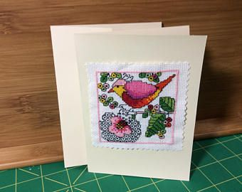Cross stitch greeting card bird with flower lots of detail